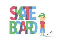 Young smiling guy with skateboard Stock Photography