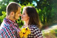 Young smiling happy couple in love Royalty Free Stock Photo