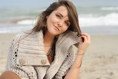 Young smiling happy woman portrait near sea beach, healthy lifestyle Royalty Free Stock Photo