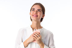 Young smiling happy woman in white blouse Royalty Free Stock Photography