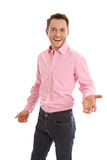 Young smiling and isolated manager with a pink shirt - great car Royalty Free Stock Photos