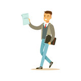 Young smiling male student in a gray jacket walking with black folder vector Illustration Stock Image