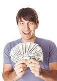 Young smiling man holding a dollar bills isolated on white  Royalty Free Stock Photo