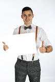 Young smiling man holding white card to write it on your. Own text  on white background Stock Photos