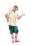 Young smiling man posing in Pinocchio costume or royalty free stock image