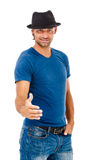 Young smiling man ready for handshake Stock Image
