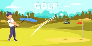 Smile Man in Sport Uniform Hit Ball with Golf Club royalty free illustration