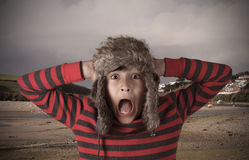 Young boy with shocked expression Stock Images