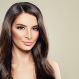 Young Smiling Model Woman with Healthy Skin. And Hair. Cute Female Face, Beauty Portrait Royalty Free Stock Photography