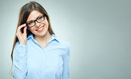 Young smiling modern business woman wearing glasses Stock Photo