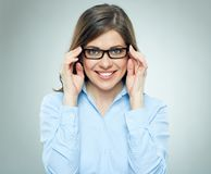 Young smiling modern business woman wearing glasses Royalty Free Stock Photo