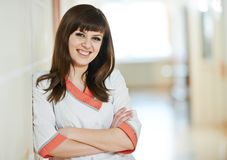 Young happy medic nurse in hospital Royalty Free Stock Images