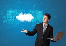 Person presenting cloud technology concept stock photo