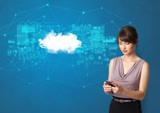 Person presenting cloud technology concept stock image