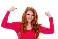 Young smiling redhead woman portrait isolated expression Royalty Free Stock Photography