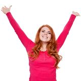 Young smiling redhead woman portrait isolated expression. Young smiling redhead woman portrait expression  isolated on white Royalty Free Stock Photography
