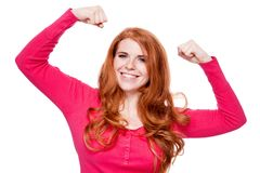 Young smiling redhead woman portrait isolated expression. Young smiling redhead woman portrait expression  isolated on white Royalty Free Stock Photo