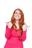 Young smiling redhead woman portrait isolated expression. Young smiling redhead woman portrait expression  isolated on white Stock Image