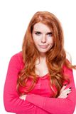 Young smiling redhead woman portrait isolated expression. Young smiling redhead woman portrait expression  isolated on white Stock Photo