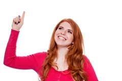 Young smiling redhead woman portrait isolated expression. Young smiling redhead woman portrait expression  isolated on white Royalty Free Stock Images