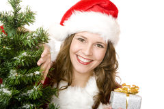 Young smiling Santa Woman with Christmas gift box Stock Photos