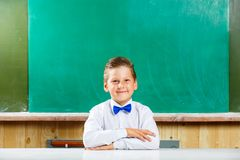 Young smiling schoolboy with bow tie at the desk Royalty Free Stock Images