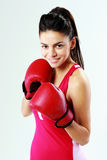 Young smiling sport woman boxing Royalty Free Stock Images