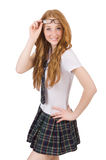 Young smiling student female isoltaed on white Stock Photography