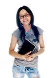 Young smiling student woman. Over white background Royalty Free Stock Images