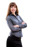 Young smiling successful business woman. Over white background Royalty Free Stock Images