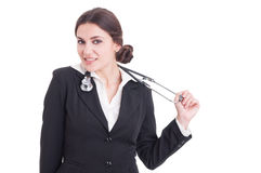 Young smiling suited female doctor or medic holding stethoscope Stock Photography