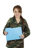 Young smiling teeange girl wearing military jacket Royalty Free Stock Images
