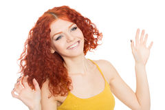 Young smiling with their hands up Royalty Free Stock Photo
