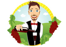 Young smiling waiter pours red wine Stock Photography