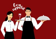 Young smiling waitress in uniform holds a tray with a glass of wine. a young smiling waiter in uniform holds a tray. Vector Stock Images