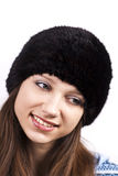 Young smiling woman. On white background Royalty Free Stock Photography