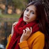 Young smiling woman  in autumn park Royalty Free Stock Images