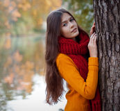 Young smiling woman  in autumn park Royalty Free Stock Photo