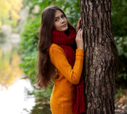 Young smiling woman in autumn park Stock Images