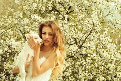 Sensual woman with small goat royalty free stock image