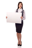 Young smiling woman with blank board Royalty Free Stock Image