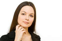 Young smiling woman in a business suit Royalty Free Stock Image