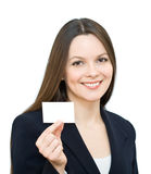 Young smiling woman with the card stock photography