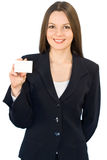 Young smiling woman with the card royalty free stock photography