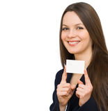 Young smiling woman with the card royalty free stock images