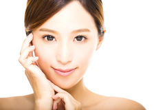 Young smiling  woman with clean face Royalty Free Stock Image