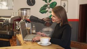 Young woman drinks a cappuccino in a cafe and works on a computer with documents. A young smiling woman drinks a fragrant cappuccino in a cafe and works on a stock video