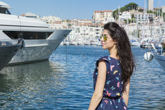 Young smiling   woman enjoying the sea view  in Cannes france Stock Photo