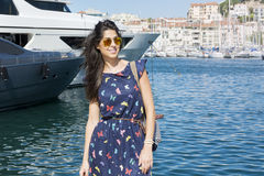 Young smiling   woman enjoying the sea view  in Cannes france Stock Photography