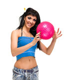 Young smiling woman with fitness ball Royalty Free Stock Photography